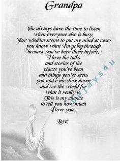 Grandpa And Me Poem   It will be posted to you in a Board Backed ...