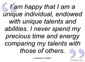 am happy that i am a unique individual