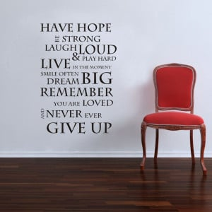 Quality New House Rules HAVE HOPE INSPIRATIONAL WALL STICKER QUOTE ...
