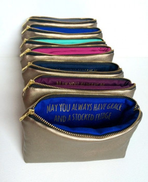 ... Bridesmaids Gifts // Gold Leather Bags w. Custom Messages Quotes by