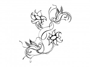 Sparrow are dancing on flowers tattoo wallpaper