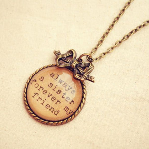 Sister Quote Necklace featuring Handmade