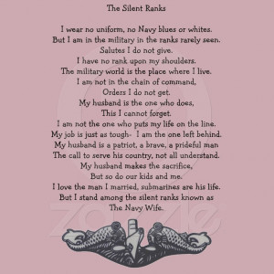 ... Wife, Military Wife, Dolphins, Submarine, The Silent Ranks Poem $21.95