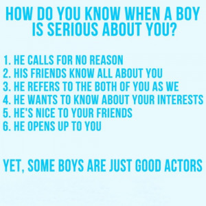 How do you know when a boy is serious about you? | Quotes Saying ...