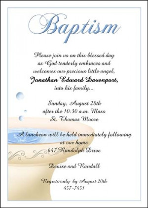 wordings, sayings, verses, quotes for Baptism invitations