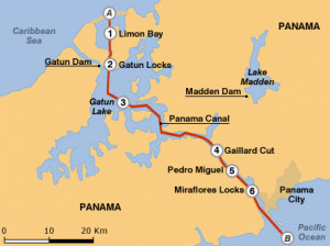panama canal on map