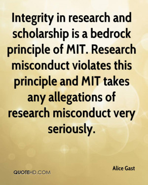 Integrity in research and scholarship is a bedrock principle of MIT ...