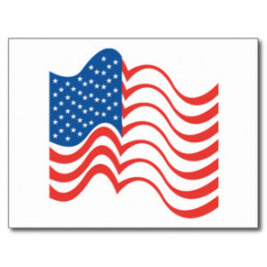 American Flag USA ~ Red White & Blue Patriot Postcard