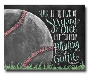 Babe Ruth Quote, Boys Room, Baseball Decor, Chalk Art Print, Baseball ...