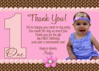 ... & Pink Polka Dot Thank You Card-Girl First Birthday, First, One, 1st