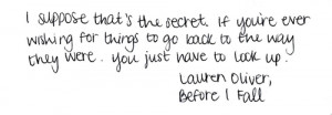 Quote from Lauren Oliver's 'Before I Fall'