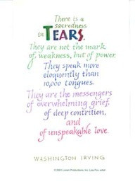 Tears Washington Irving quote - love grief
