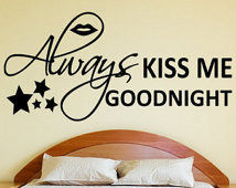 ... Art Quote with Lips and Stars bedroom romantic cute wall sticker decal