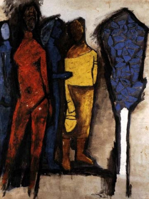 Two Women' by M. F. Husain. The thick black lines remind me of ...