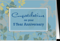 5th Year Employee Anniversary, Blue, Leaves card - Product #671417
