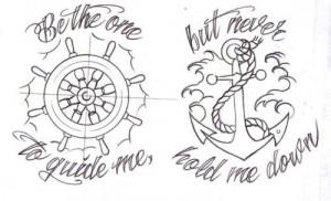 anchor, cute, design, quote, sailor, tattoo