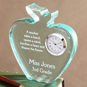 Personalized Teachers Acrylic Apple Clock - 4458