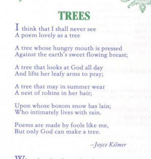 tree poems | Tree Poem Joyce Kilmer | Flickr - Photo Sharing!