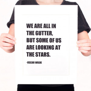 Oscar Wilde LOOKING at the STARS Quote Digital Print (Mat included ...