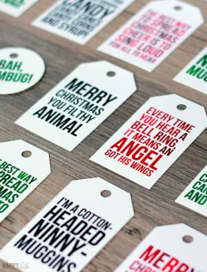 Funny Christmas movie quotes on these fun printable Christmas tags ...