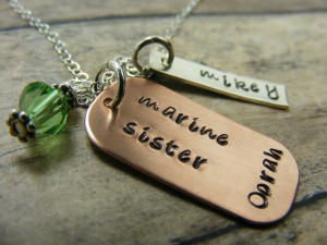 Proud Marine Sister-millitarynecklace-Marines-personalized-handstamped ...