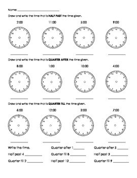 Time Worksheets » Digital Time Worksheets Quarter Past - Preschool ...