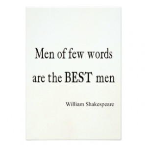Shakespeare Quote Best Men of Few Words Quotes 5x7 Paper Invitation ...