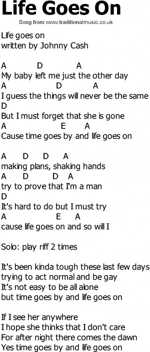 Old Country song lyrics with chords - Life Goes On