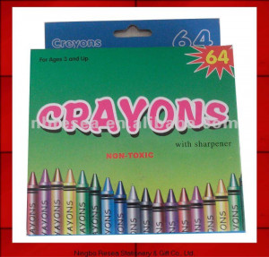 2012 new 64pcs colored crayon packs funny drawing