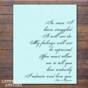 Printable Jane Austen Quote, Mr. Darcy Quote, Instant Download, Wall ...