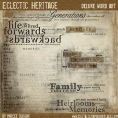Scrapbooking or Family History Book heritage Word art, Quotes, Poems ...