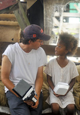 Director Ben Zeitlin and Quvenzhane Wallis on the set of Beasts of the ...