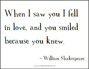 Shakespeare Love Quotes When I Saw You (10)