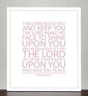 Baptism Gift - Bible Verse - Numbers 6 ( Light Pink ) - 8x10 Print. $ ...