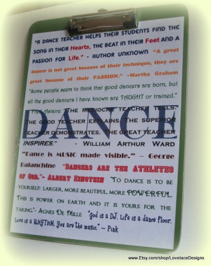 Dance Teacher Thank You Quotes