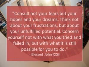 Pope John XXIII quote on fear