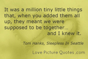 famous love quotes a million tiny little things tom hanks sleepless in ...
