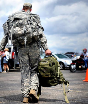 Soldiers return home from war.