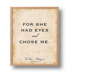 Othello Quote Print, William Shakespeare Classic Literary Wall Art ...