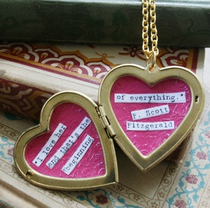 ... brass locket hand enameled with a typed F. Scott Fitzgerald quote