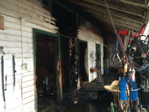 Fire damage to a horse barn at the Saratoga Casino and Raceway harness ...