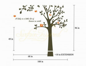 cute bird tree with Custom name Quote leaf leaves birds home Art ...
