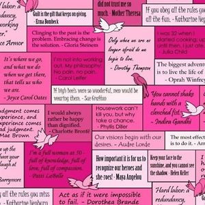 Musings Inspiring Women's Quotes with Birds on Pinks Fabric Fat ...