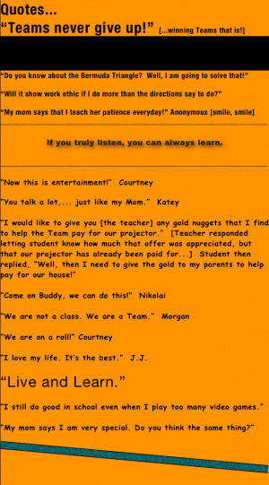 """Quotes...""""Teams never give up!"""" [...winning Teams that is!]And in ..."""