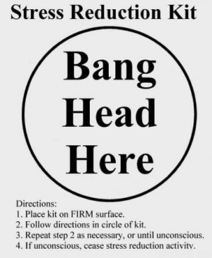 description only a stress reduction kit that says bang head here in ...