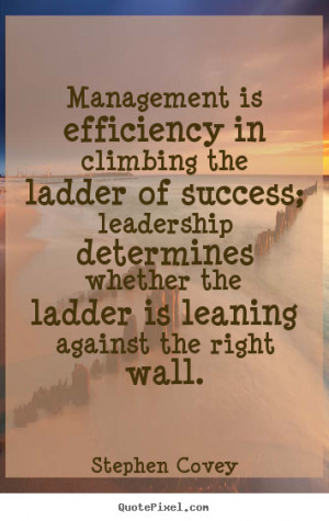 ... ladder of success; leadership determines whether the ladder is leaning