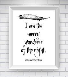 ... Night's Dream, Shakespeare quote, Shakespeare poster, quote print