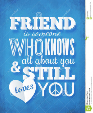 Vector typography paper design with quote about friendship.