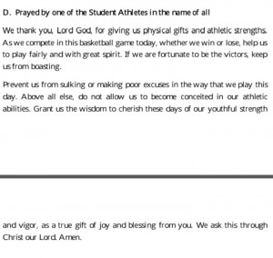 Basketball Prayer Quotes Prayer before a basketball