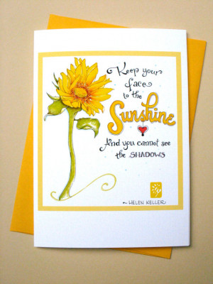Be Happy Card. Inspirational Quote Card. Sunflower Sunshine